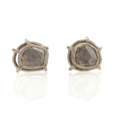 Foggy Diamond Slice White Gold Earrings Image