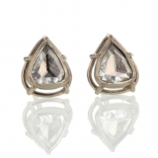 Rose Cut Pear Shaped Diamond Earrings Image