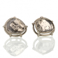 Diamond Slice 18k Palladium Gold Earrings Image