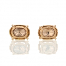 Petite Rose Cut Diamond Rose Gold Post Stud Earrings Image