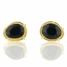 Blue Gray Spinel 18k Gold Post Stud Earrings Image