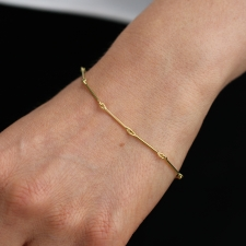 Needle Eye 18k Gold Chain Bracelet
