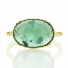 Oval Rose Cut Emerald Solitaire Ring Image