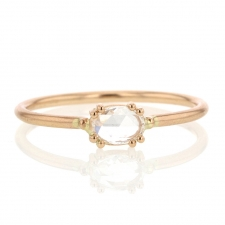 Oval 18k Rose Gold Rose Cut Diamond Solitaire Ring Image
