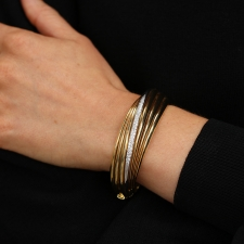 Spiral 18k Gold Diamond Cuff Bangle Bracelet Image