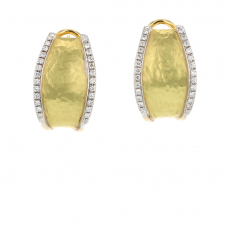 Inverted Segno 18k Gold Hammered Earrings Image