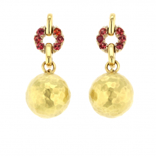 18k Gold Ball Earrings with Sapphires Image