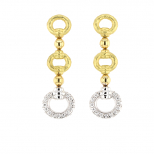 Buckle Drop Gold Earrings with Diamonds Image