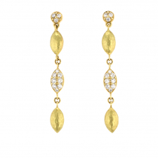 18k Gold and Diamond Drop Hammered Earrings Image