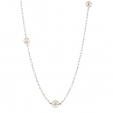 18k White Gold Long Ball Necklace Image