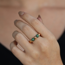 18k Rose Gold Boules Ring with Emeralds Image