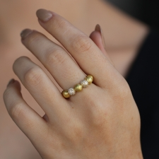 Boules 18k Yellow Gold Ring with Diamonds Image