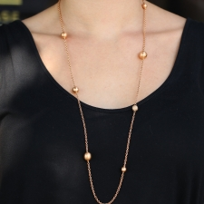 Hammered  Ball 18k Rose Gold Long Necklace with Diamonds Image