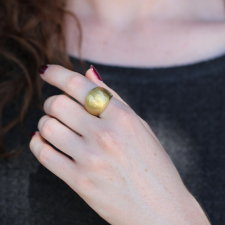 Domed Hand Hammered 18k Yellow Gold Ring Image