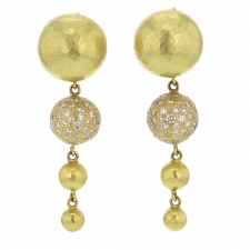 18k Yellow Gold Hammered Fireworks Drop Earrings Image