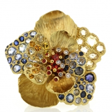 18k Gold Diamond and Sapphire Flower Ring Image