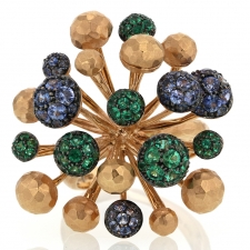 Sapphire and Emerald Fireworks 18k Gold Ring Image
