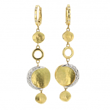 Moon Circle Gold Drop Earrings with Diamonds Image