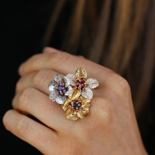 Flower Cluster Diamond and Sapphire Ring Image