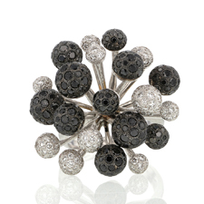 White and Black Diamond Fireworks 18k White Gold Ring Image