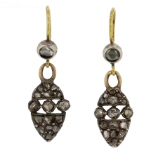 Antique Victorian Silver and Gold Diamond Earrings Image