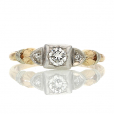Vintage Mixed 18k White Gold and 14k Yellow Gold Diamond Ring Image