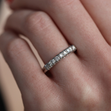 Vintage Platinum and Diamond Half Band Ring Image