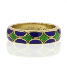 Vintage 14k Gold and Enamel Kenneth Jay Lane Ring Image