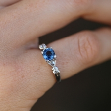 Platinum Blue Sapphire and Diamond Vintage Ring Image