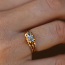 Vintage Gold Oval Rose Cut Diamond Ring
