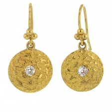 Vintage Hammered Gold and Diamond Earrings Image
