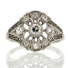 Platinum Diamond Vintage Deco Ring Image