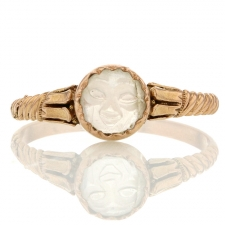 Carved Moonstone 10k Vintage Ring Image