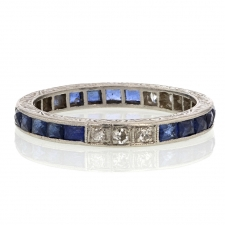 Vintage Diamond and Sapphire Platinum French Cut Ring