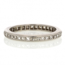 Vintage Platinum Square French Cut Diamond Eternity Band Ring Image