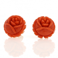 Vintage Orange Coral Flower Earrings Image