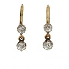 Vintage Mine Cut Diamond Double Drop Earrings Image