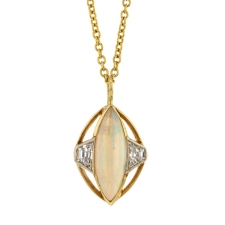 Marquise Opal Pendant with Diamonds Image