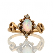 Vintage Opal and Diamond Unique Ring Image