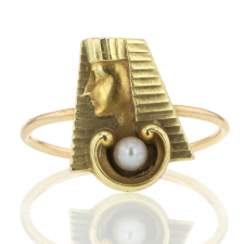 Egyptian Revival Pharoh Pearl Ring Image