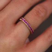 Vintage Ruby Prong Set Eternity 14k Gold Band Image