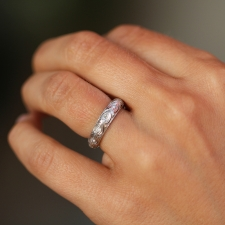 Engraved Platinum Diamond Ring Image