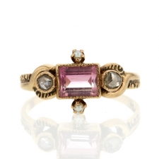 Vintage PInk Tourmaline and Diamond Ring Image