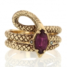Vintage Garnet and Pearl Gold Snake Ring