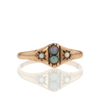 Opal and Pearl Vintage Gold Ring Image