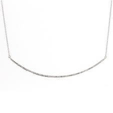 White Gold Curved Bar Pave Diamond Necklace Image