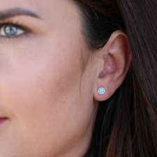 Round Turquoise Gold Pave Diamond Stud Earrings Image