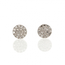 White Gold Pave Round Button Stud Earrings Image