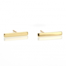 Yellow Gold Long Bar Stud Earring Image