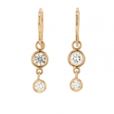 Diamond Bezel 18k Rose Gold Earrings Image